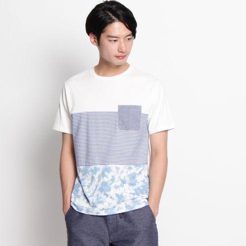 【THE SHOP TK(Men) (ザ ショップ ティーケー(メンズ))】3段切替Tシャツメンズ トップス|カットソー・Tシャツ ダークグレー