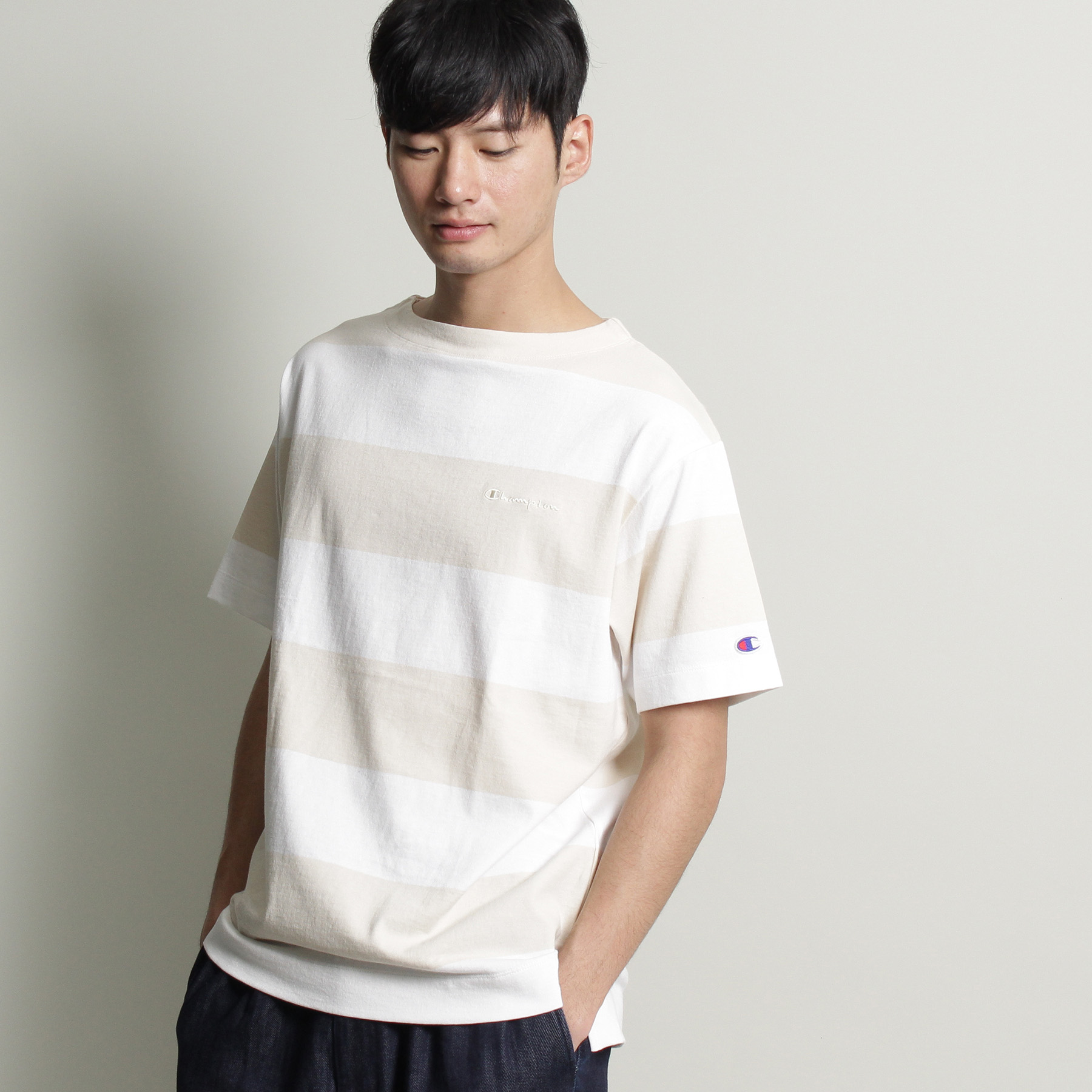 【THE SHOP TK(Men) (ザ ショップ ティーケー(メンズ))】【チャンピオン別注】ビッグボーダーTシャツメンズ トップス|カットソー・Tシャツ ベージュ