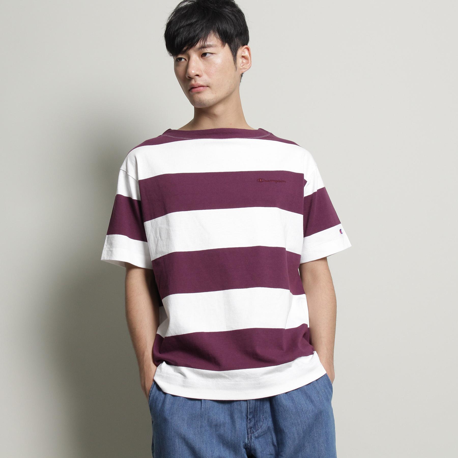 【THE SHOP TK(Men) (ザ ショップ ティーケー(メンズ))】【チャンピオン別注】ビッグボーダーTシャツメンズ トップス|カットソー・Tシャツ パープル