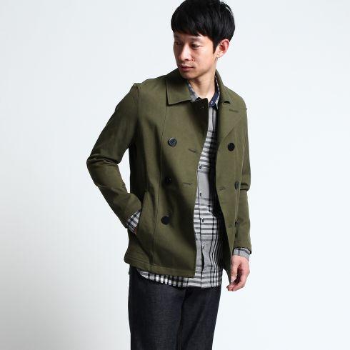 【THE SHOP TK(Men) (ザ ショップ ティーケー(メンズ))】ストレッチスプリングピーコートメンズ コート ピーコート カーキ