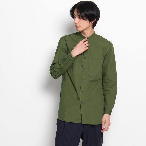 【THE SHOP TK(Men) (ザ ショップ ティーケー(メンズ))】バンドカラーWポケットシャツメンズ トップス|カジュアルシャツ オリーブグリーン