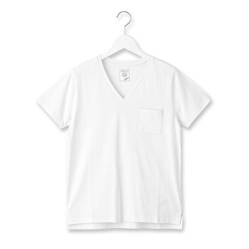 【OPAQUE.CLIP (オペーク ドット クリップ)】スーピマコットンVネックプルオーバーレディース トップス|カットソー・Tシャツ ホワイト系