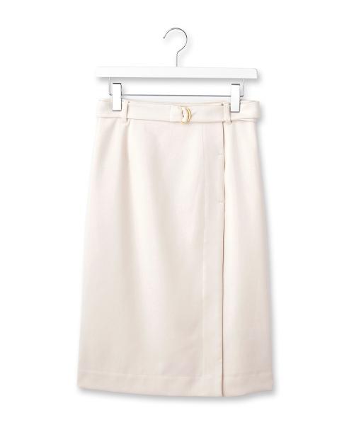 ベルテッドミモレ丈ラップ風スカート