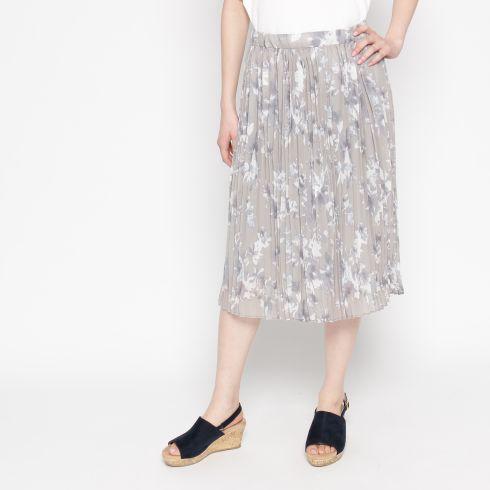 フラワー柄ジョーゼットプリーツスカート
