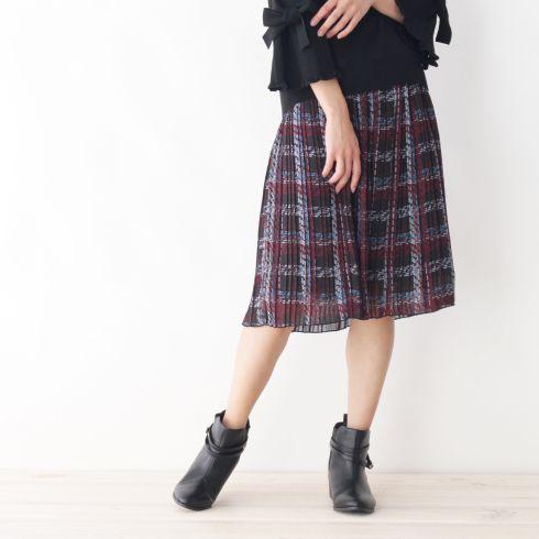 【SOUP (スープ)】ツイードプリントプリーツスカートレディース スカート|ひざ丈 ボルドー