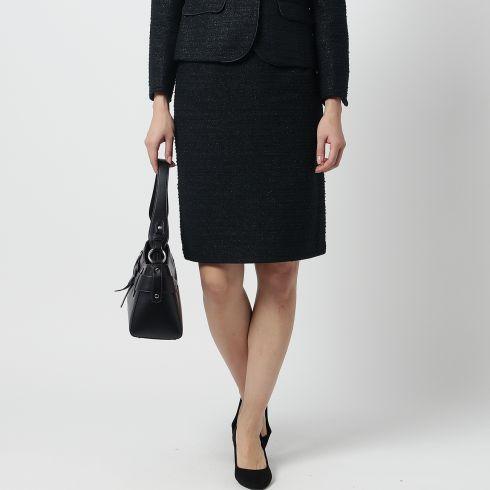 【SOUP (スープ)】【WEB限定サイズ】モールラメツイードスカートレディース スカート|ひざ丈 ブラック