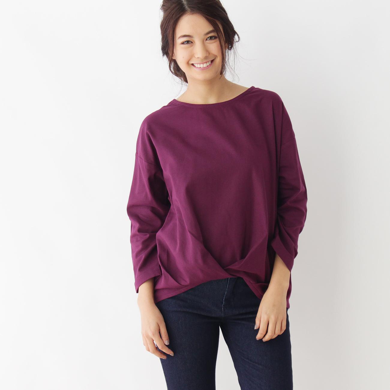 【pink adobe (ピンクアドベ)】前身布帛タックプルオーバーレディース トップス カットソー・Tシャツ ラズベリーピンク