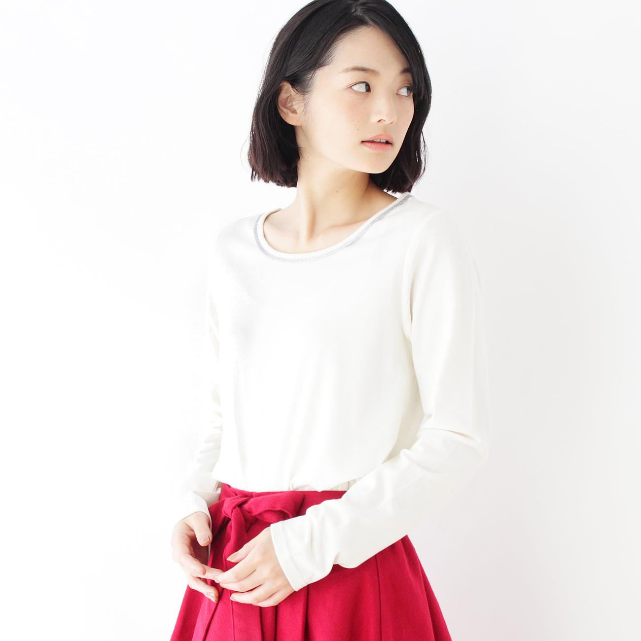 【pink adobe (ピンクアドベ)】細アビガイルカットソーレディース トップス カットソー・Tシャツ アイボリー