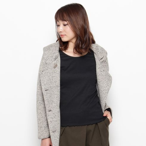 【pink adobe (ピンクアドベ)】◆テレコベーシックTシャツレディース トップス カットソー・Tシャツ ブラック