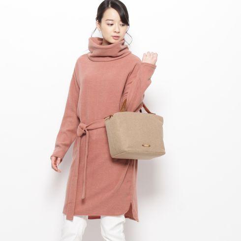 【pink adobe (ピンクアドベ)】ベルテッド起毛タートルワンピースレディース ワンピース ワンピース ネイビー