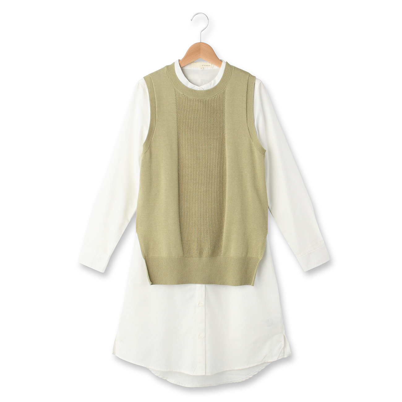 【pink adobe (ピンクアドベ)】ベスト×スタンドカラーシャツSETワンピースレディース ワンピース|ワンピース オフホワイト
