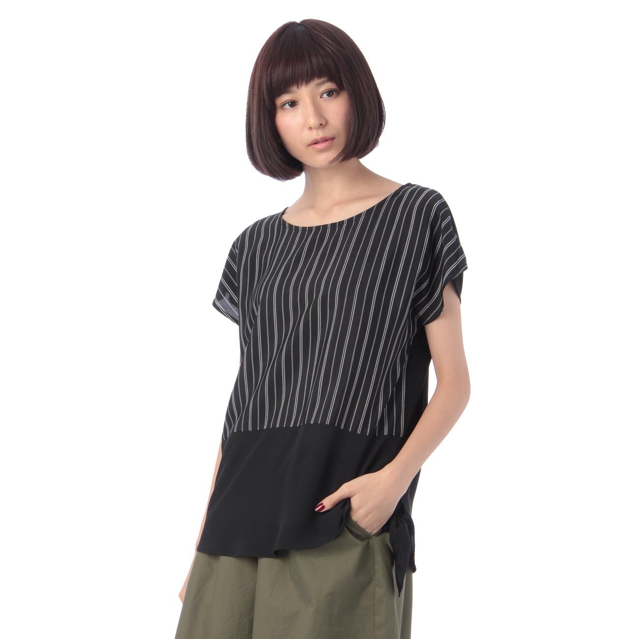 【grove (グローブ)】ストライプ裾横しばりプルオーバーレディース トップス|カットソー・Tシャツ ブラック