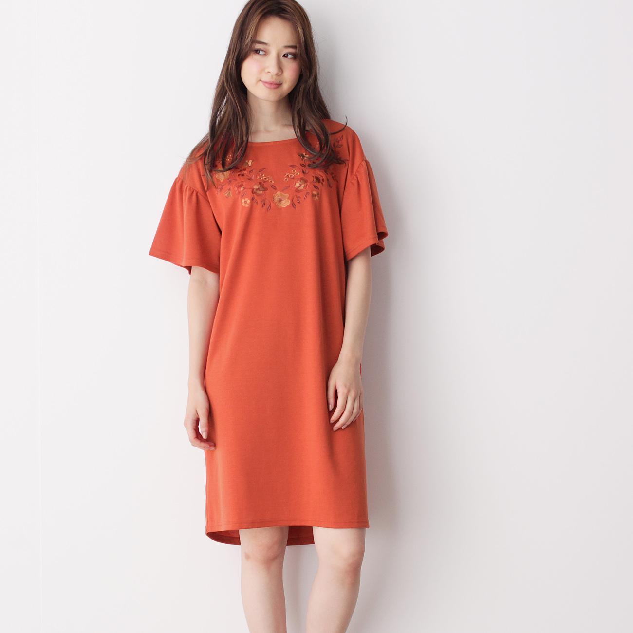 【grove (グローブ)】フラワー刺繍ワンピースレディース ワンピース|ワンピース ダークオレンジ