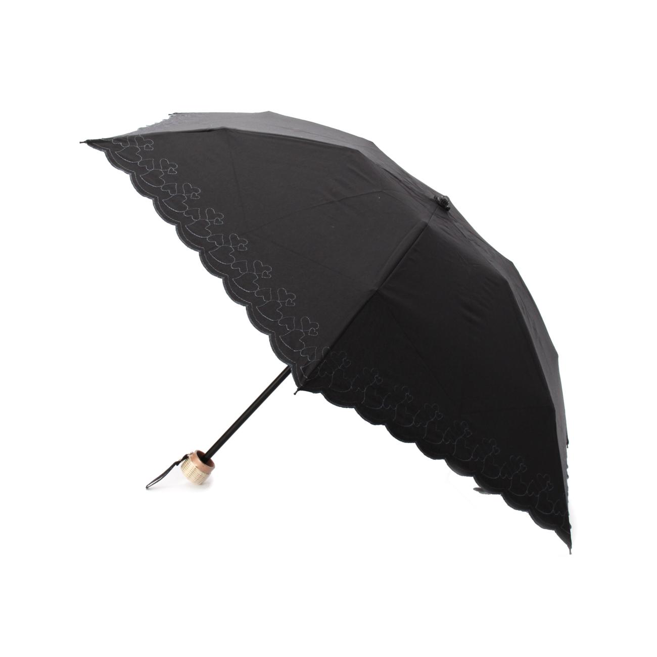 【grove (グローブ)】ハート刺繍ミニパラソルレディース 雑貨 折り畳み傘 ブラック