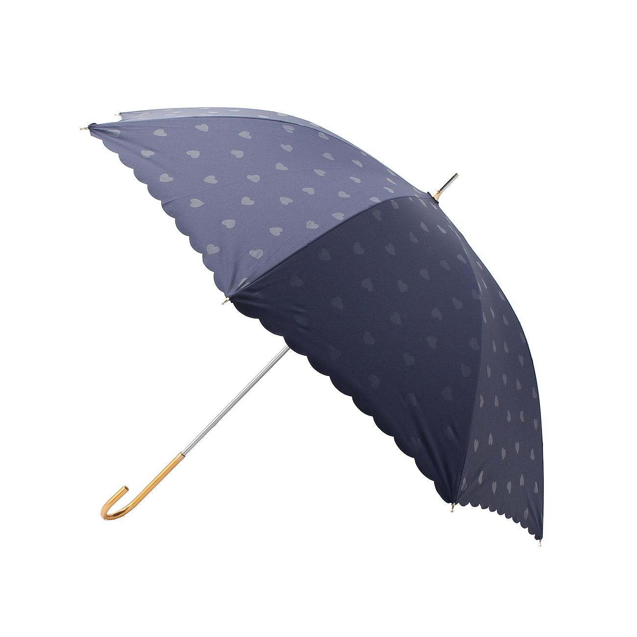【grove (グローブ)】ハートドット遮光日傘レディース 雑貨 長傘 ネイビー