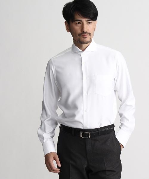 ピンドットスーパードライホリゾンタルカラーシャツ