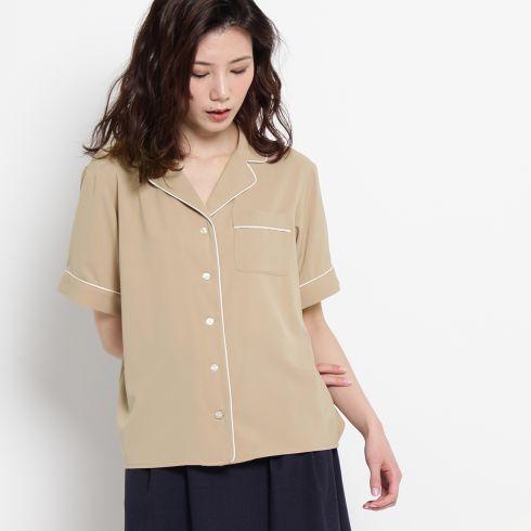 パジャマ風パイピングシャツ