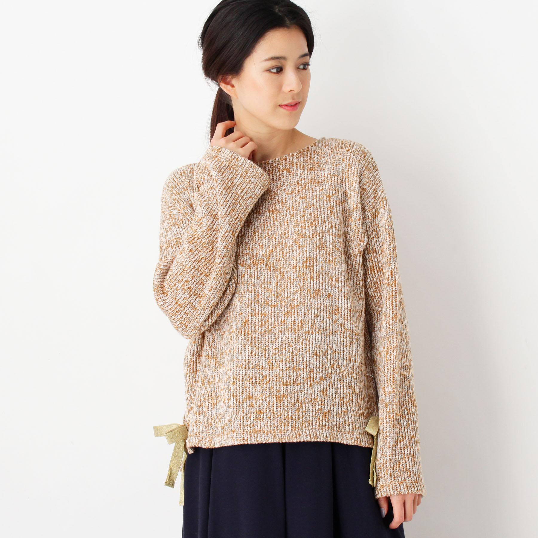 【index (インデックス)】裾リボンツイード風ニットレディース トップス|セーター サンドベージュ