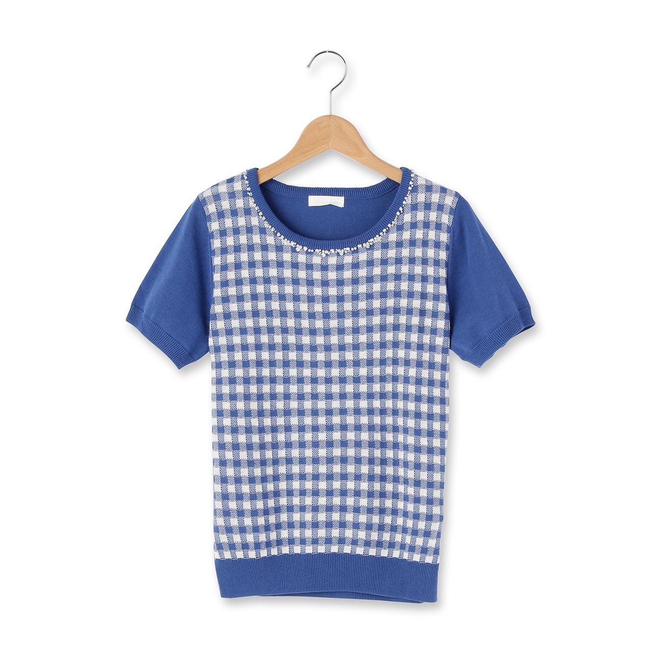 【index (インデックス)】衿ビジューギンガムチェック半袖ニットレディース トップス セーター ブルー