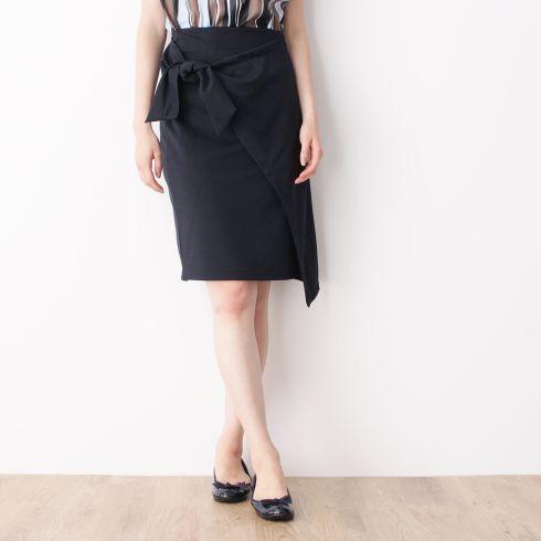 【index (インデックス)】ウエストリボンラップスカートレディース スカート|ひざ丈 グリーン