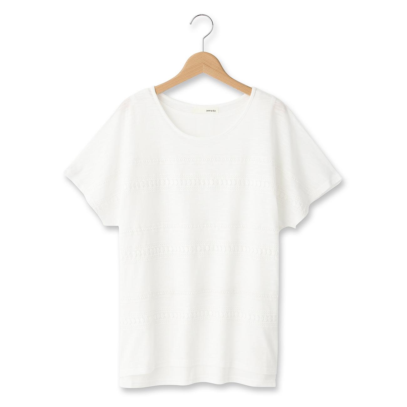 【SHOO・LA・RUE (シューラルー)】レースボーダーレイヤード風カットソーレディース トップス|カットソー・Tシャツ ホワイト系