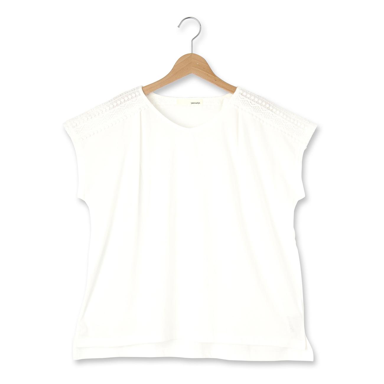 【SHOO・LA・RUE (シューラルー)】肩レースボックスカットソーレディース トップス|カットソー・Tシャツ ホワイト系