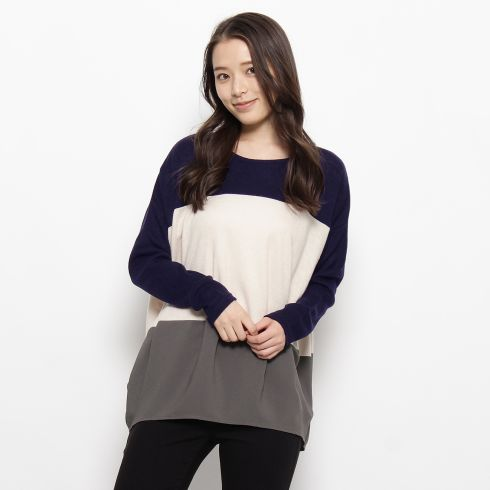 【SHOO・LA・RUE (シューラルー)】三段切り替えプルオーバーレディース トップス カットソー・Tシャツ グレー