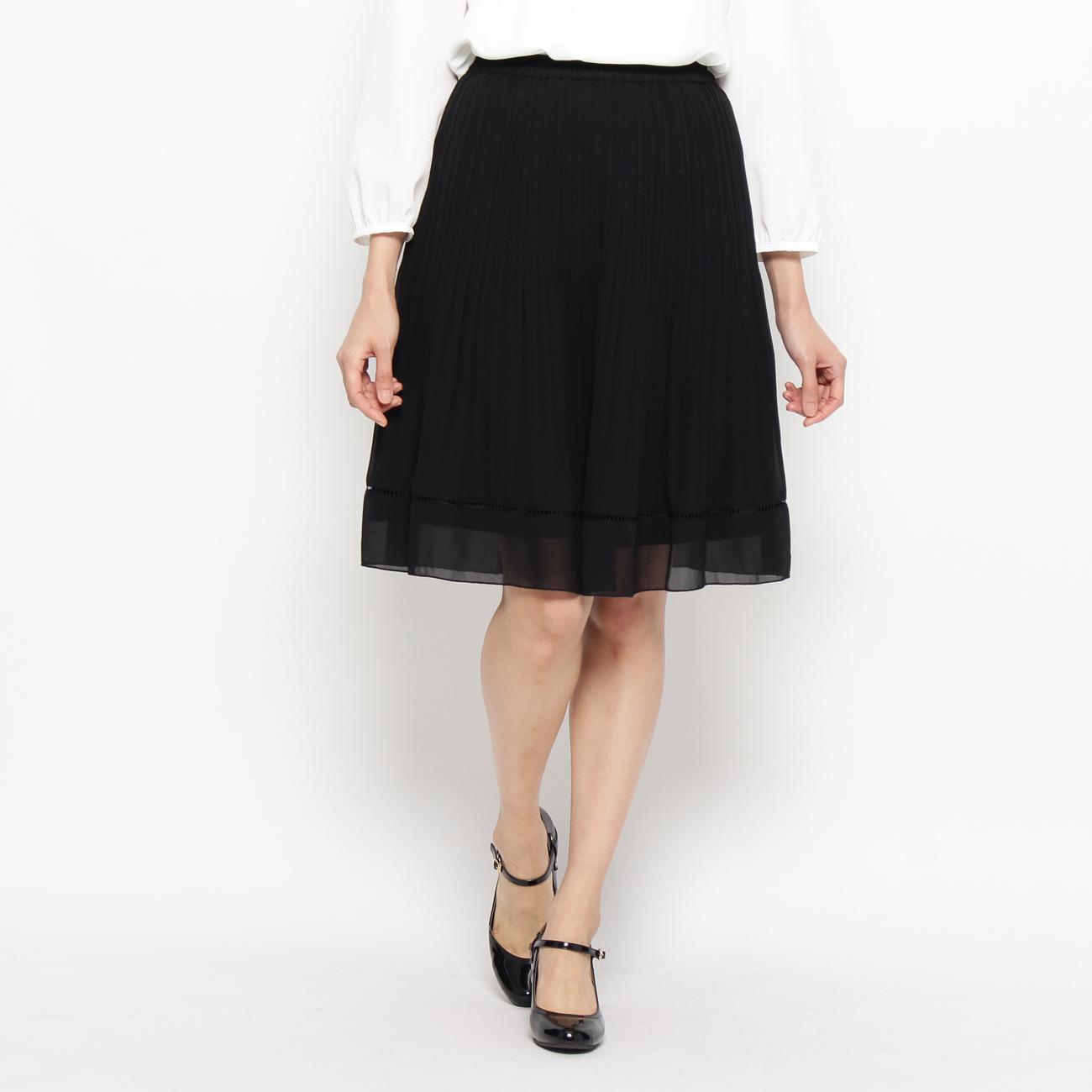 【SHOO・LA・RUE (シューラルー)】ランダムプリーツスカートレディース スカート|ひざ丈 ブラック