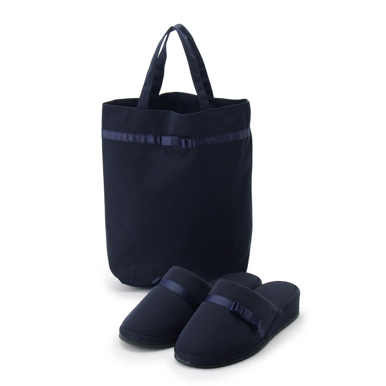 【SHOO・LA・RUE (シューラルー)】携帯バッグ付セレモニースリッパレディース シューズ|ルームシューズ ネイビー