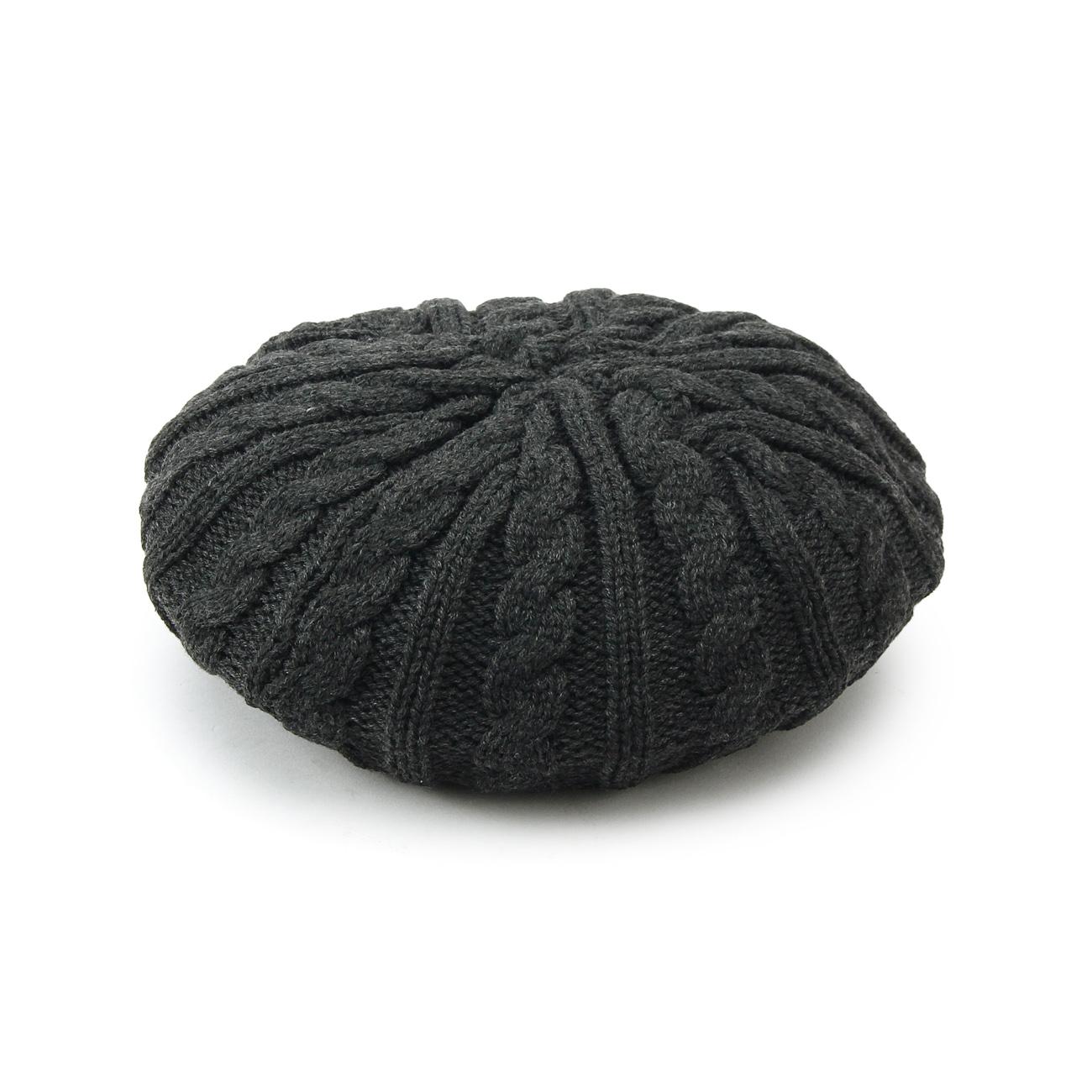 【OPAQUE.CLIP (オペークドットクリップ)】ケーブルニットベレー帽レディース 帽子 ハンチング・ベレー帽 グレー