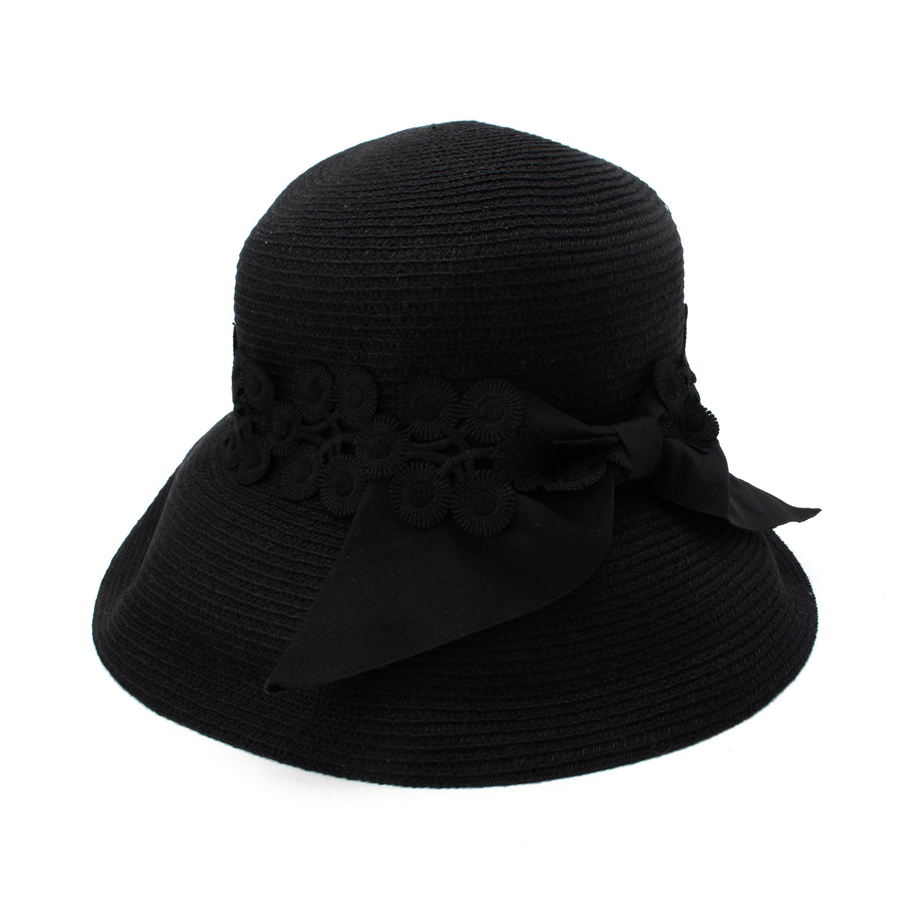 【OPAQUE.CLIP (オペークドットクリップ)】レース付きポケッタブルハットレディース 帽子 ハット ブラック