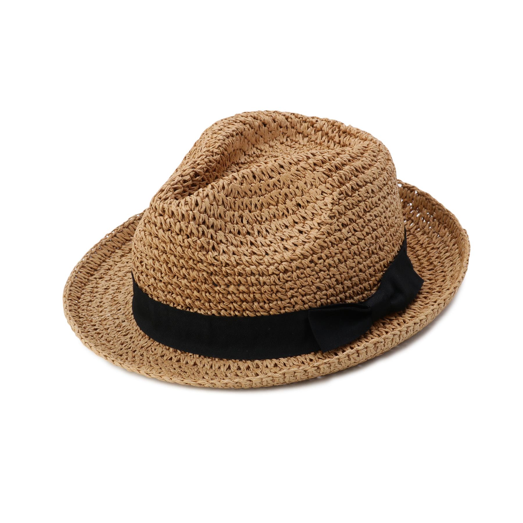 【OPAQUE.CLIP (オペークドットクリップ)】コマ編み中折れ帽子レディース 帽子 ハット ブラウン