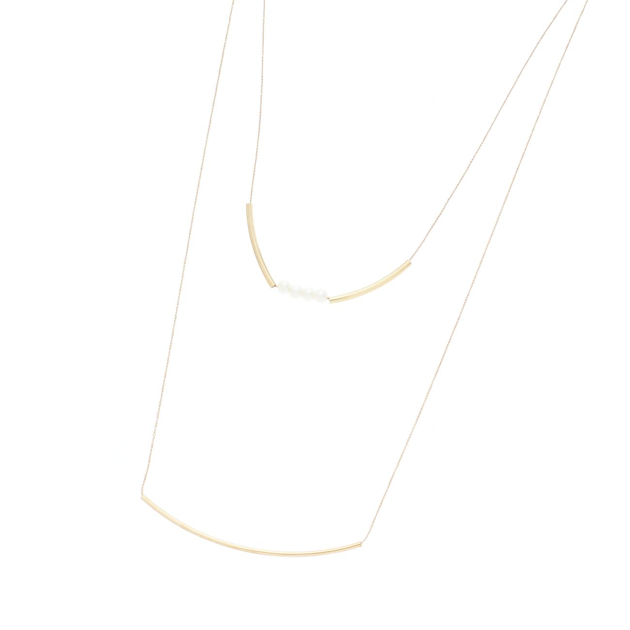 【OPAQUE.CLIP (オペークドットクリップ)】バーデザイン2連ネックレスレディース アクセサリー|ネックレス ゴールド