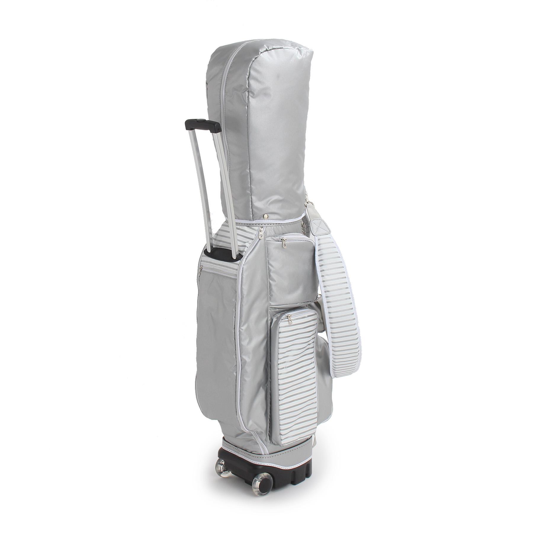 【adabat (アダバット)】ボーダー切り替えキャスター付きキャディバッグレディース バッグ|その他バッグ シルバー