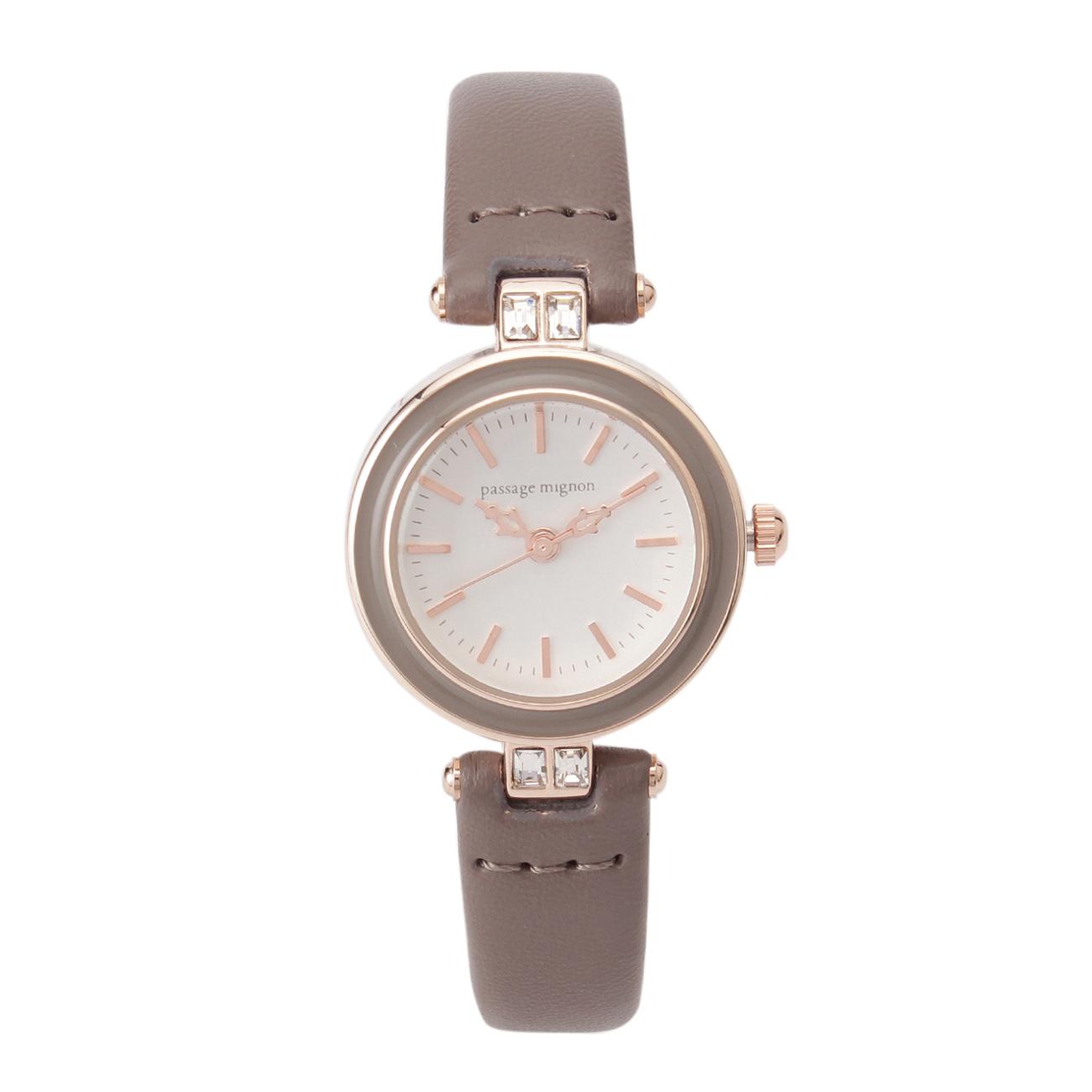【passage mignon (パサージュ ミニョン)】エポサークルフレーム腕時計レディース 雑貨|腕時計 サンドベージュ