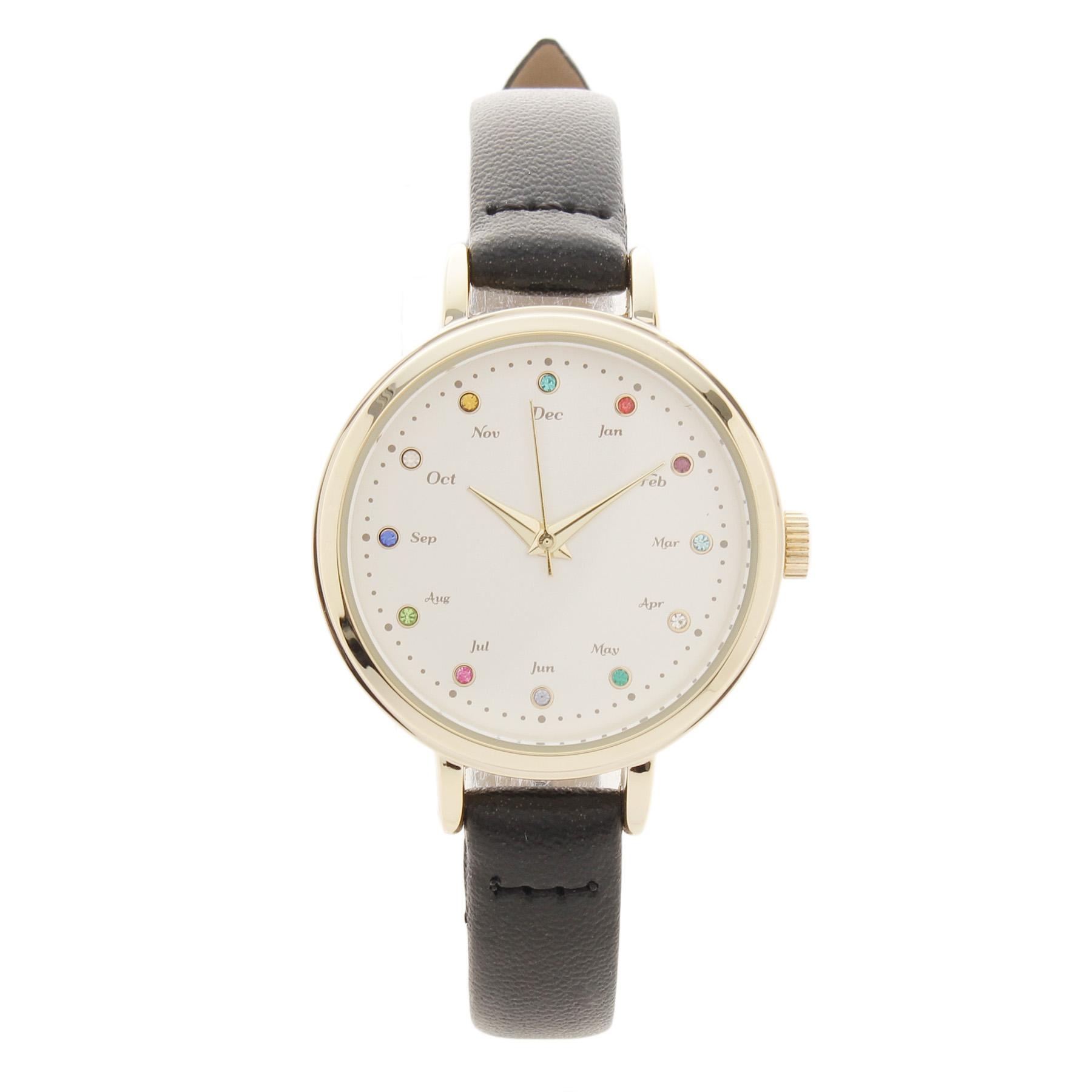 【passage mignon (パサージュ ミニョン)】誕生石カラーストーンウォッチレディース 雑貨|腕時計 ブラック