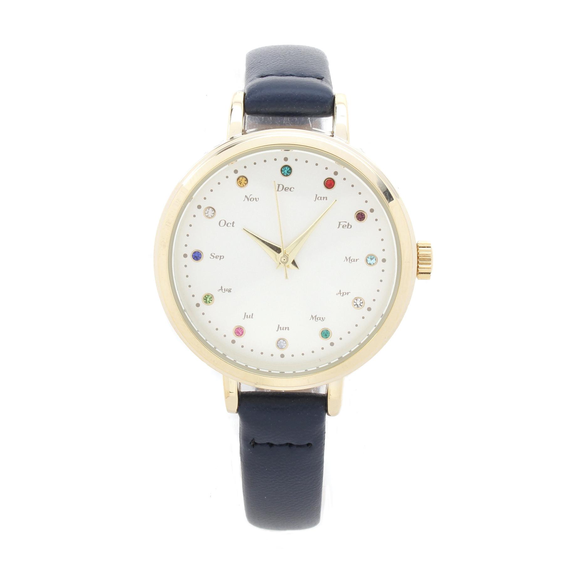 【passage mignon (パサージュ ミニョン)】誕生石カラーストーンウォッチレディース 雑貨|腕時計 ネイビー