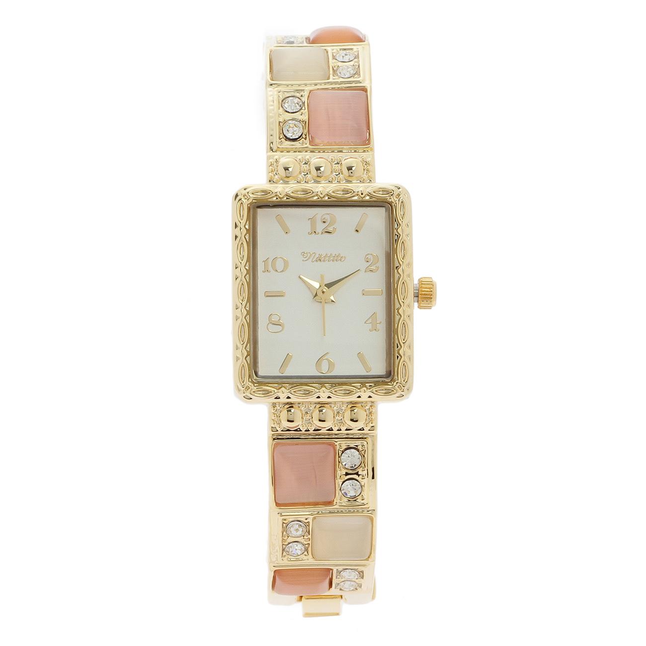 【passage mignon (パサージュ ミニョン)】モザイクストーンブレスレット風腕時計レディース 雑貨|腕時計 ベビーピンク