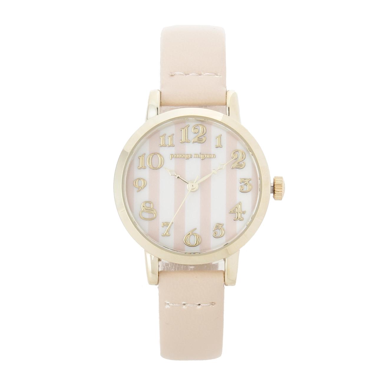 【passage mignon (パサージュ ミニョン)】ストライプ腕時計レディース 雑貨|腕時計 ライトベージュ