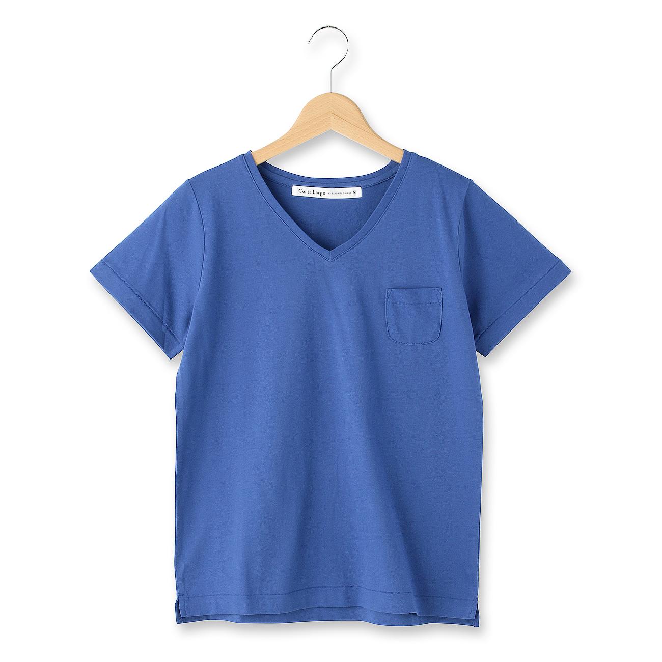 【CorteLargo (コルテラルゴ)】プチポケコットンTシャツレディース トップス|カットソー・Tシャツ ブルー