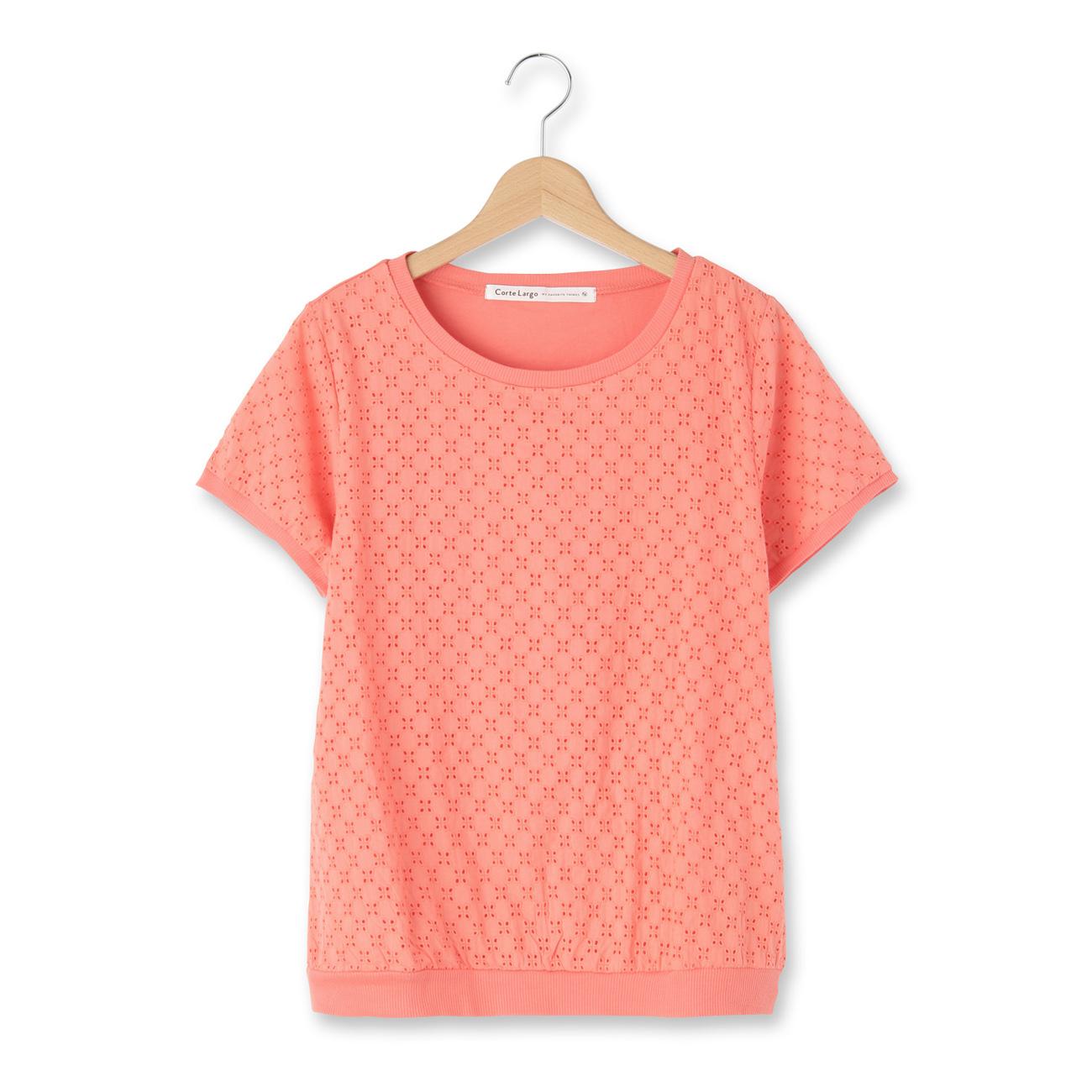 【CorteLargo (コルテラルゴ)】刺繍レースプルオーバーレディース トップス|カットソー・Tシャツ オレンジ
