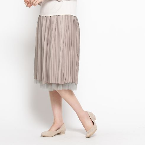 プリーツ×チュールリバーシブルスカート