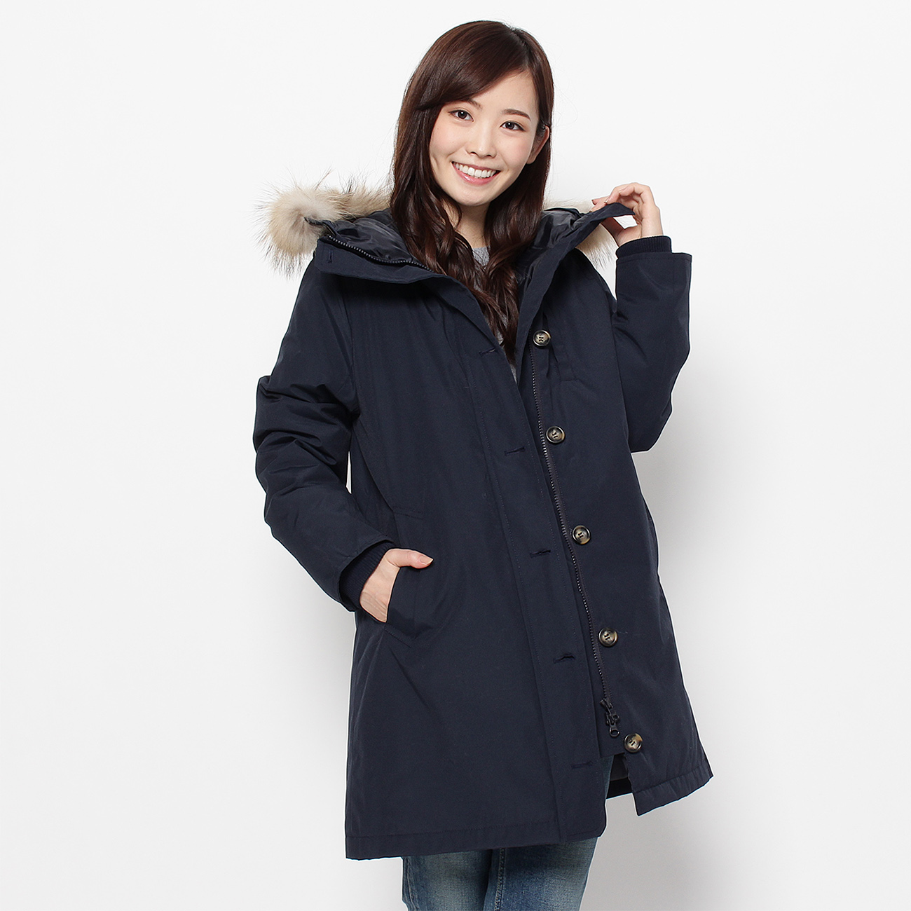 【Dessin(Ladies) (デッサン)】ファーフード中綿コートレディース コート モッズ・フィールドコート ネイビー