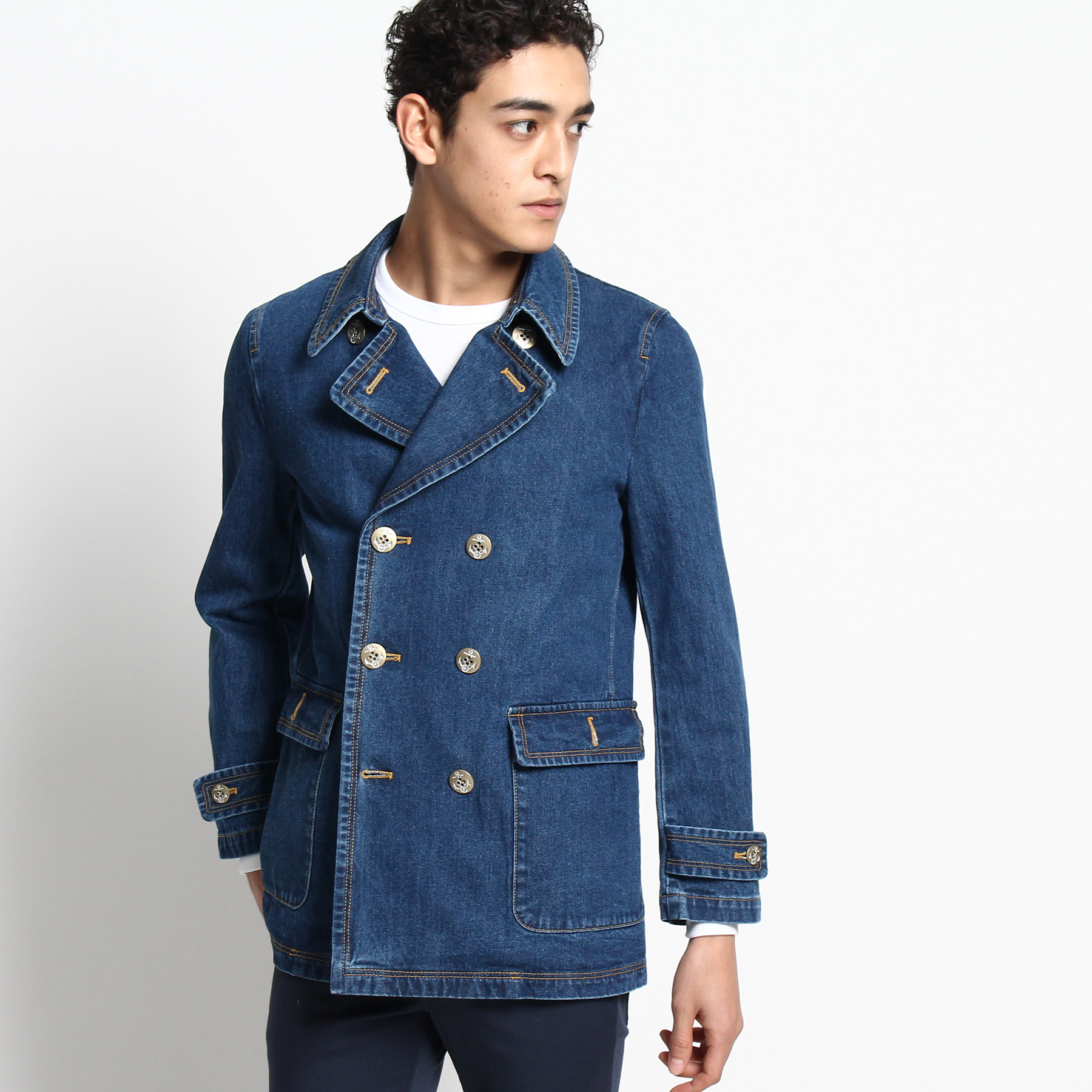 【Dessin(Men) (デッサン)】【洗える】12OZデニム ピーコートメンズ コート ピーコート ブルー