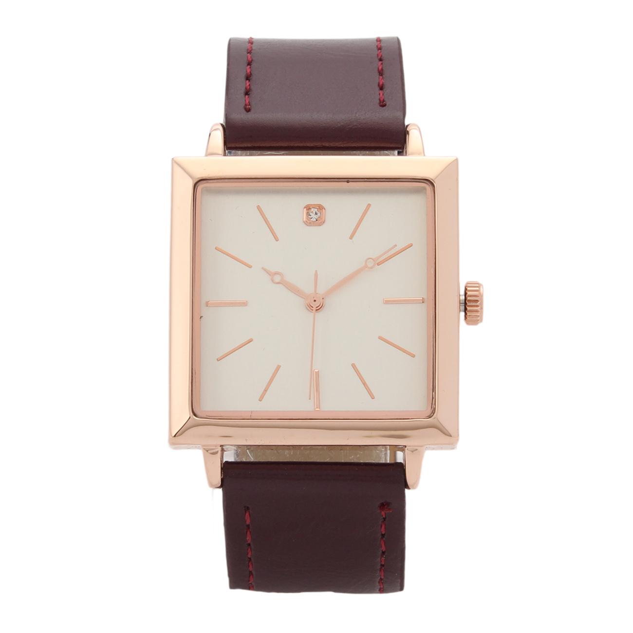 【LOCATION (ロケーション)】スクエアウォッチレディース 雑貨 腕時計 ボルドー