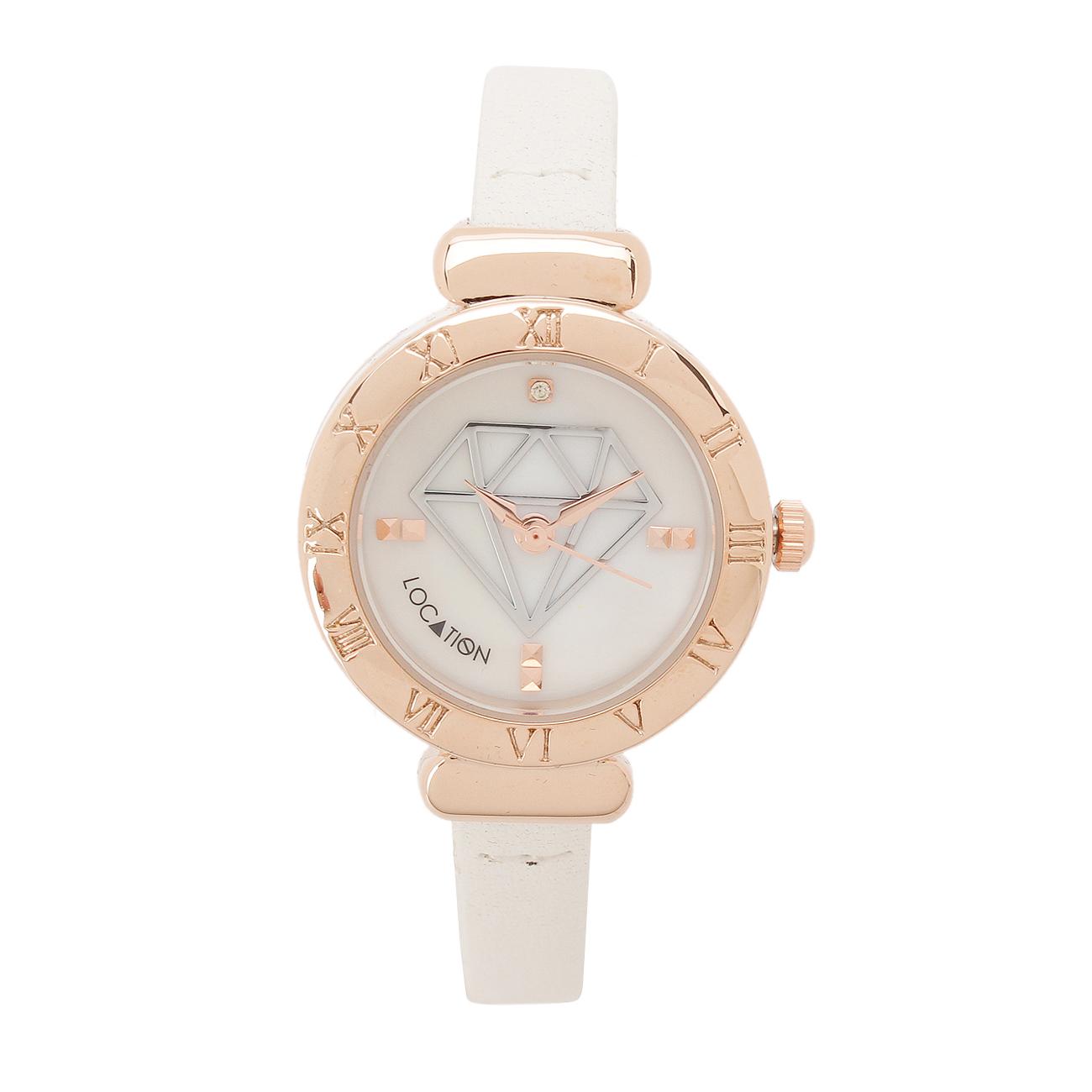 【LOCATION (ロケーション)】ダイヤデザインラウンドウォッチレディース 雑貨|腕時計 ホワイト