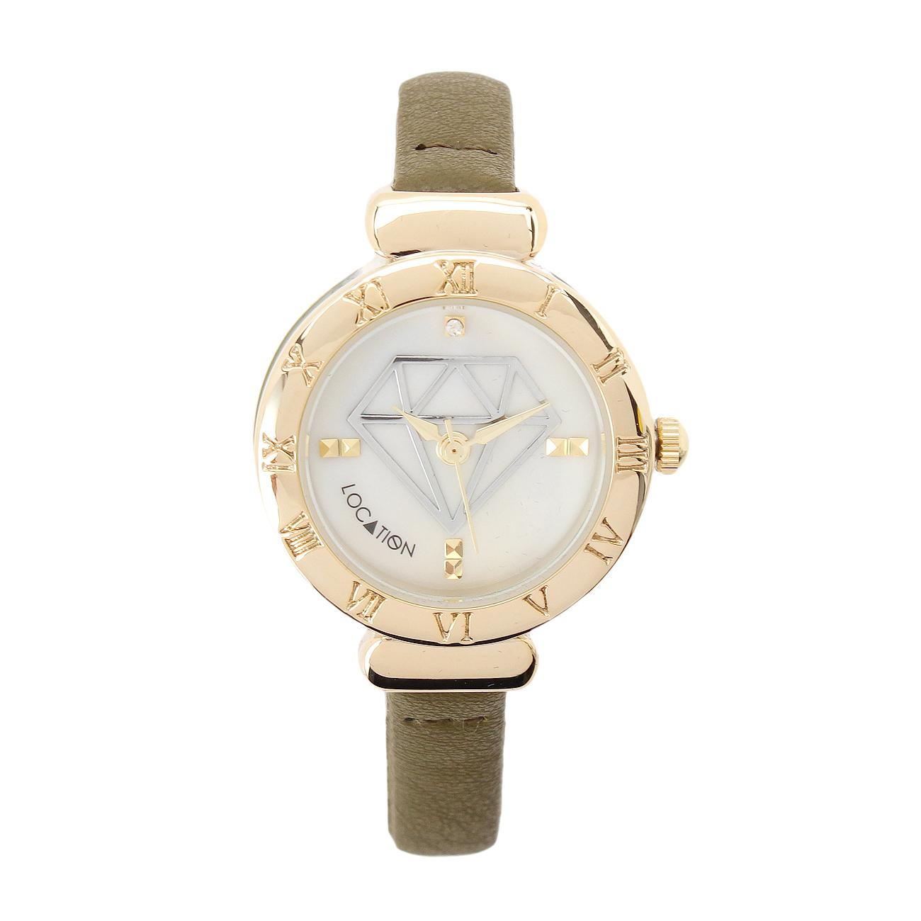 【LOCATION (ロケーション)】ダイヤデザインラウンドウォッチレディース 雑貨|腕時計 ダークグリーン
