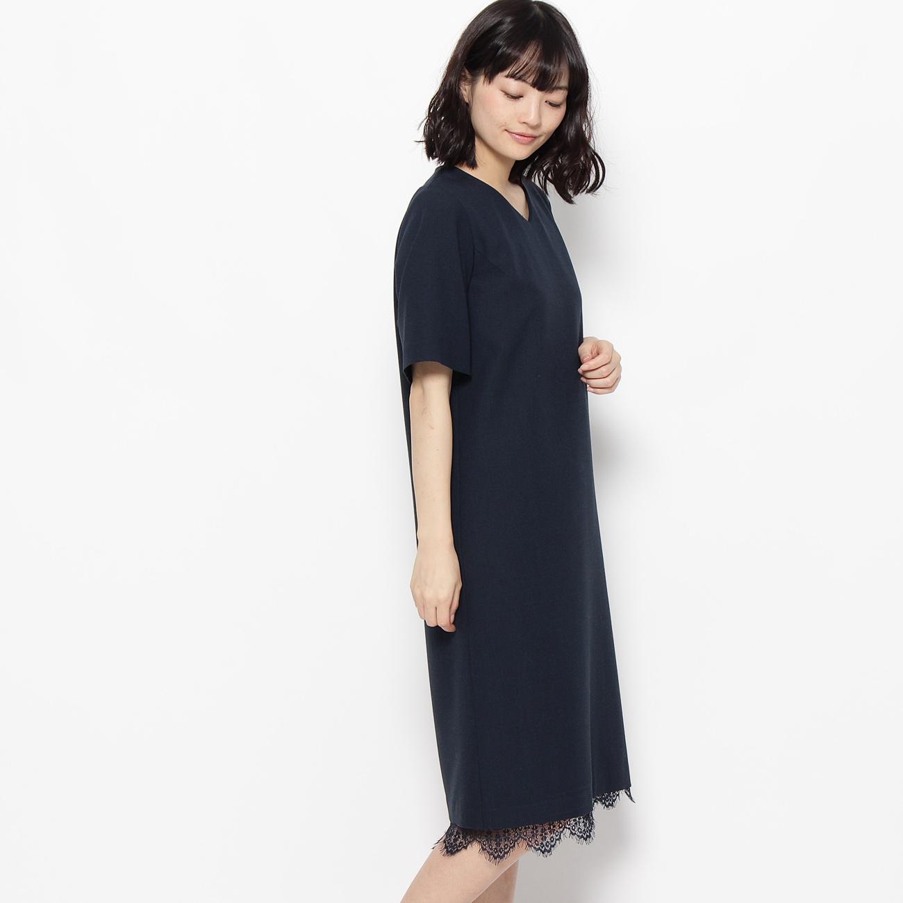 【grove (グローブ)】ジョーゼット+キャミソールワンピースSETレディース ワンピース ドレス ネイビー