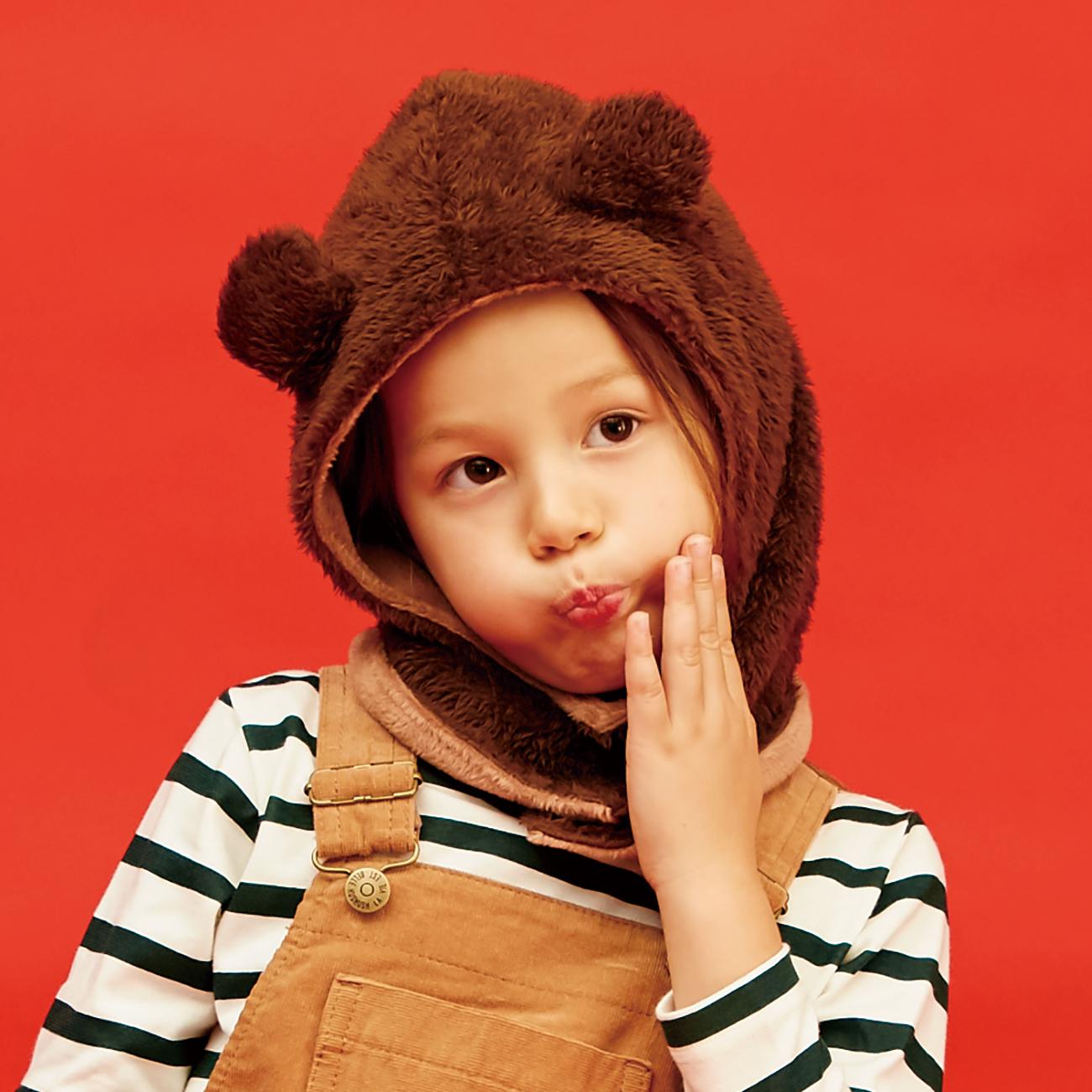 【HusHusH(Kids) (ハッシュアッシュ)】フェイスマスクキッズ 帽子|その他帽子 ブラウン